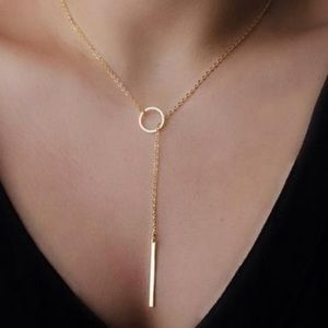 Bar and Circle Lariat Necklace